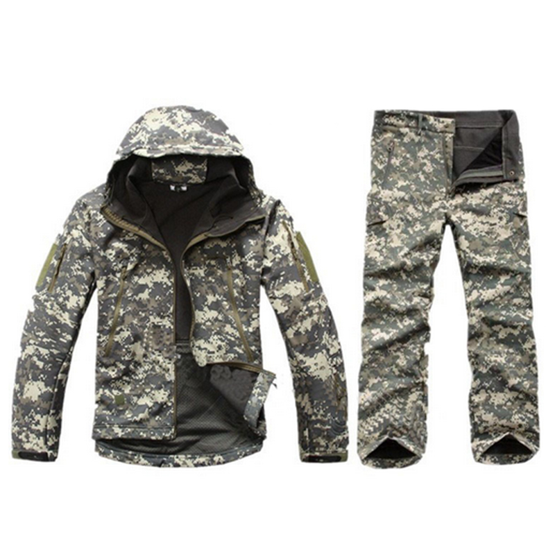 Outdoor Climbing Riding Fleece Thicken Waterproof Jackets+Pants Sets Men Hiking Tactical Camouflage Hooded Coats Trousers Suits