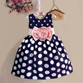 Free shipping 2017 girl clothes for party dress big bow flowers dot ball gown children clothing for girl princess dress
