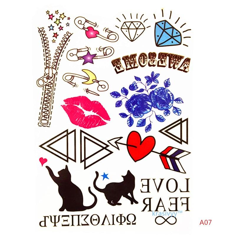 Krasivyy niños temporal tatuajes pegatinas dibujos animados labios - Tatuaje y arte corporal - foto 2