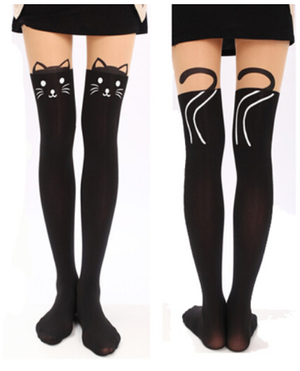 2017 Cute Cartoon Pattern Cute Cat Cute cat Tights Socks Stockings  Girls Women Socks
