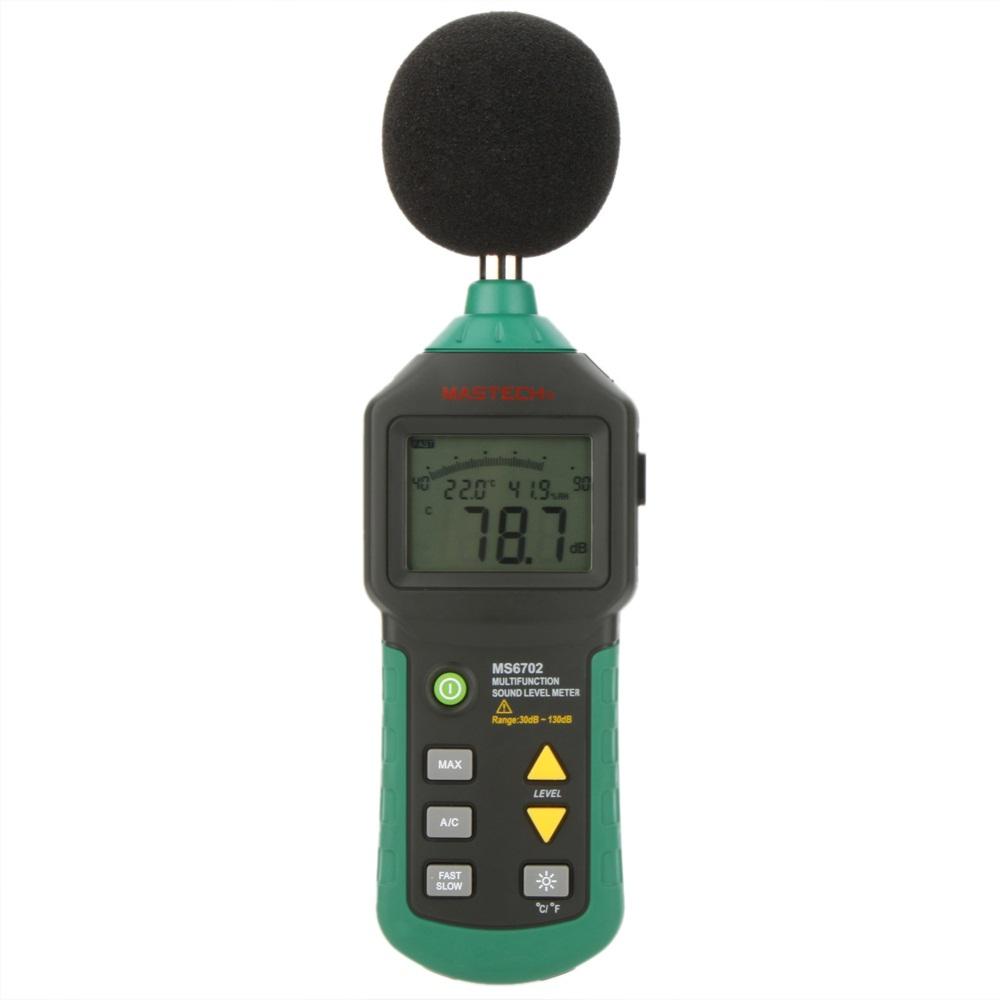 MASTECH MS6702 Digital Sound Level Meter Noise Meter dB Decible Meter Tester Temperature Humidity Meter Thermometer mastech ms6514 dual channel digital thermometer temperature logger tester usb interface 1000 set data k j t e r s n thermocouple