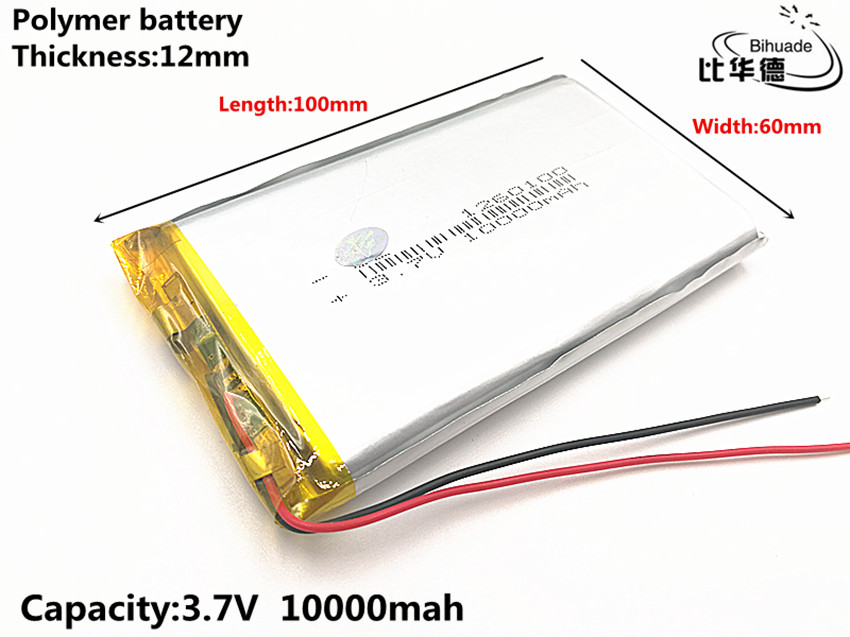 1pcs/lot Good Qulity 3.7V,10000mAH,1260100 Polymer Lithium Ion / Li-ion Battery For TOY,POWER BANK,GPS,