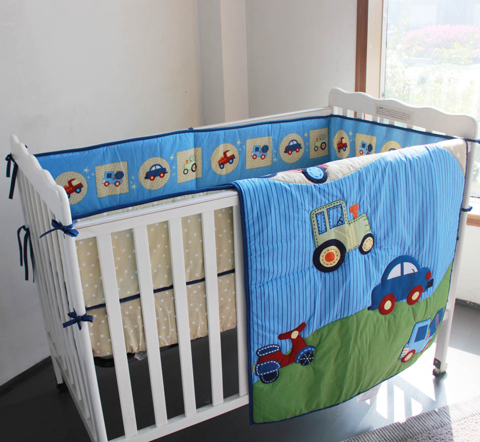 Blue Cars Transportation Baby Boy 3 Piece Crib Bedding Set Includes Comforter Pers Ed Sheet In Sets From Mother Kids On Aliexpress