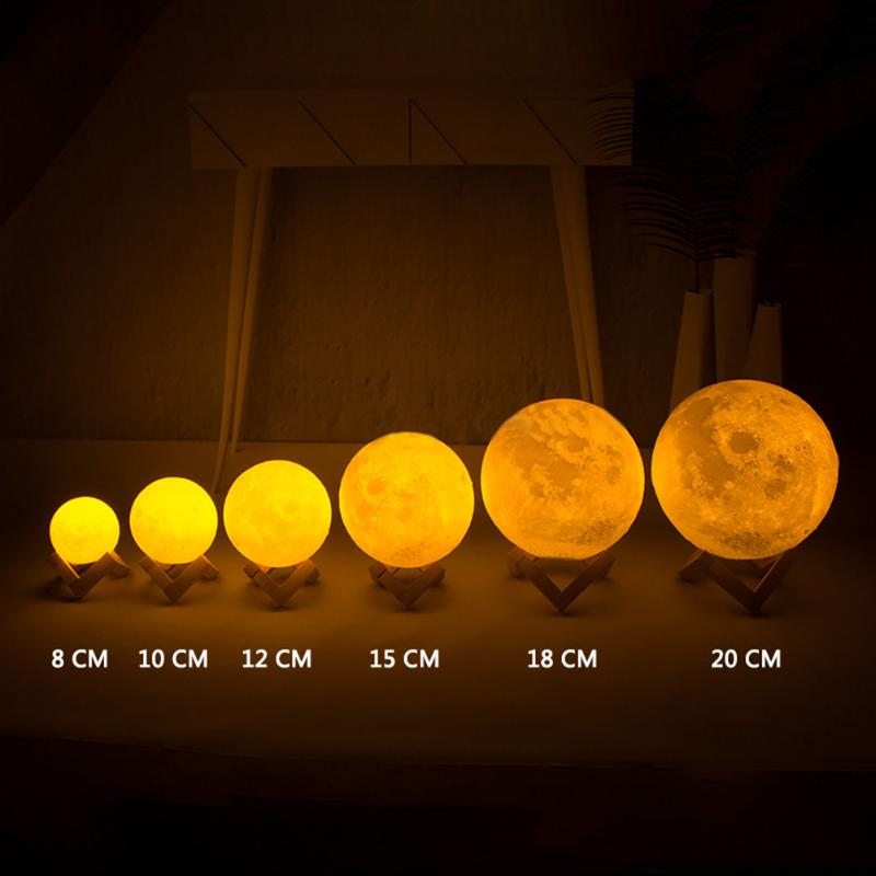 Rechargeable 3D Magical LED Luna Night Light Moon Lamp Desk USB Charging 7 Color Change Touch Control Home Decor Gift 8-20cm 3d magical moon lamp usb led night light moonlight touch sensor color changing night light 8 10 13 15 18 20cm christmas gift