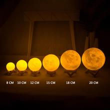 Rechargeable 3D Magical LED Luna Night Light Moon Lamp Desk USB Charging 7 Color Change Touch Control Home Decor Gift 8-20cm