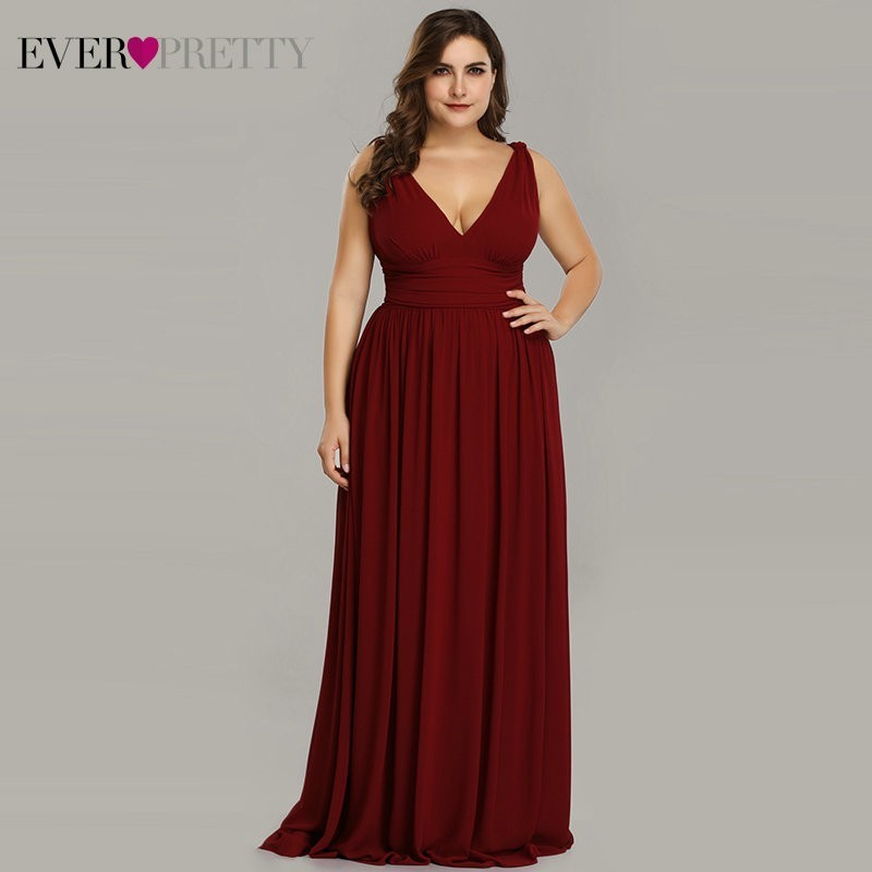 Ever Pretty Plus Size   Bridesmaid     Dresses   2019 Vestidos Elegant A Line V Neck Backless Long Chiffon Wedding Party Gowns EP09016