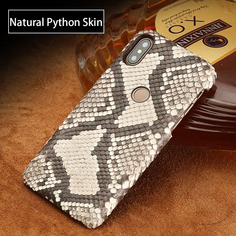 Véritable étui En Cuir Pour Xiaomi Mi Max 3 Mix 2 s 6 8 A1 A2 Lite 100% Python naturel peau Pour Redmi Note 5 Pro 4X 5A 5 Plus