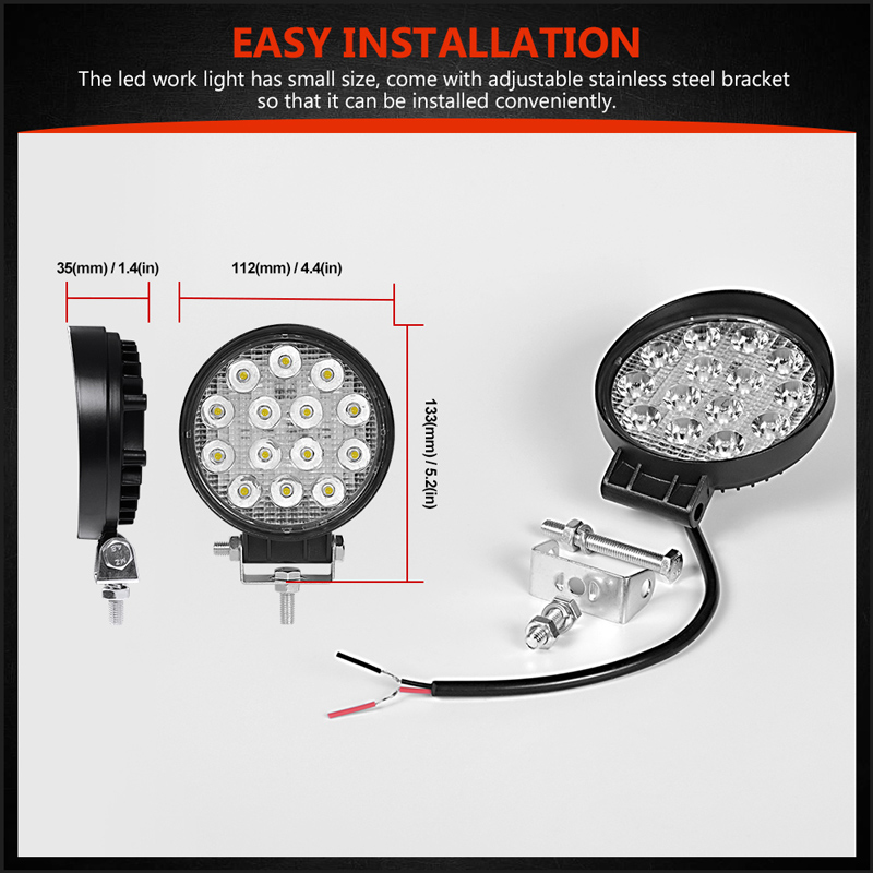 Image 3 - 4 Inch 42 48W Offroad LED Work Light Spotlight Flood Spot Beam Drive Lamp for JEEP UAZ 4x4 Car 4WD Boat SUV ATV Truck Motorcycle-in Light Bar/Work Light from Automobiles & Motorcycles