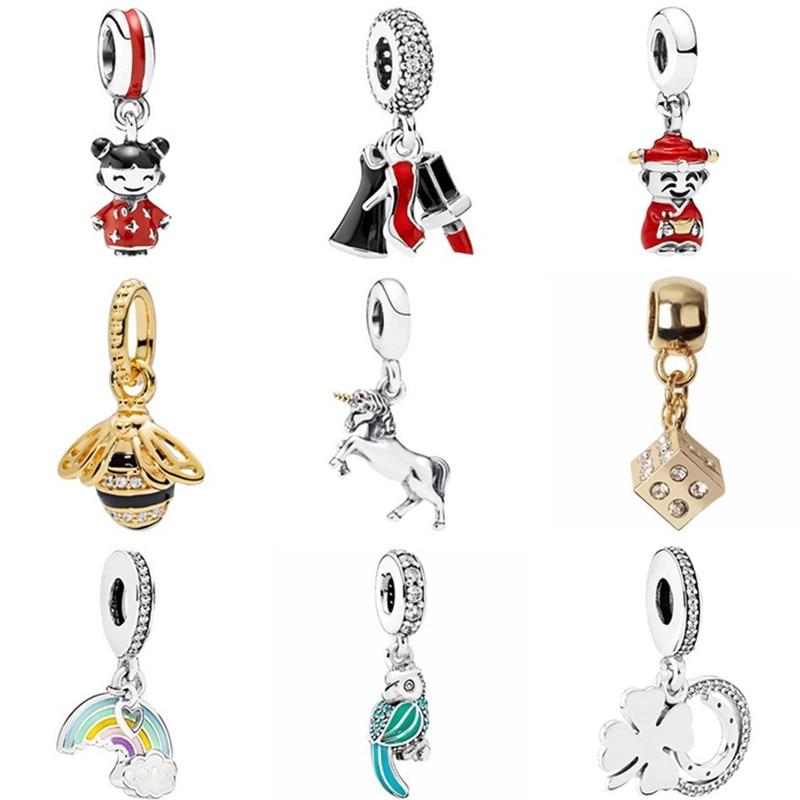 Hot Sale Crystal Lipstick Rainbow Bee Bird Horse Owl Heart Bead Fit Pandora Charms & Bangles for Women Birthday Gift DIY Jewelry(China)