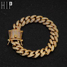 Hip Full AAA Crystal Bling Cubic Zirconia Iced Out Pave Men's Cuban Bracelet Gold Silver Miami Chain Bracelets for Men Jewelry