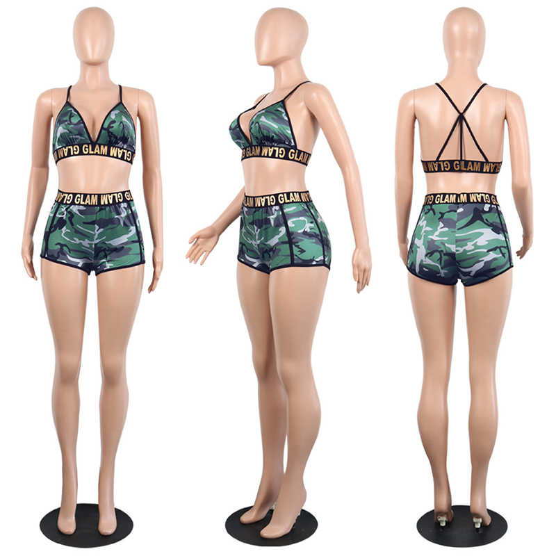 Sexy Matching Bra TWO PIECE SET Shorts Crop Top Strap Camouflage Women Tracksuit Outfits Track Suits Twinsets Biker Beach Club