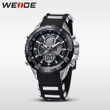 WEIDE Brand Military Sports Watch for Men Black Waterproof Digital LCD Quartz-Watch Silicone Strap Wristwatches with Gift Box