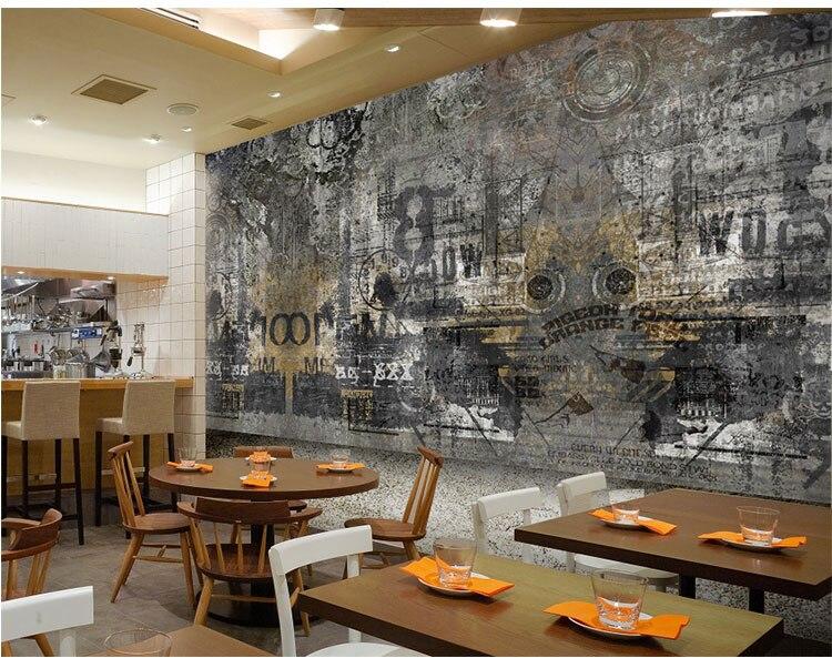 Graffiti Murals Personality Nostalgic Retro Theme Cafe Tea