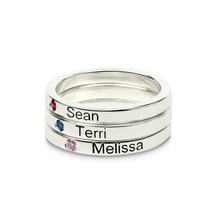 Sleek Engraved Name Rings with Birthstone