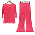 100%  Silk 70 Grams Of Knitted Silk Fabric Ladies Pajamas Set Wave Point Big Code Loose Home Suit