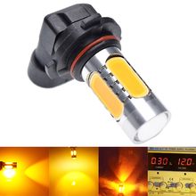 1Pcs 9005 HB3 H10 9045 9006 HB4 COB 11W LED With Lens Fog Driving Lamp Bulb Auto Car DRL Sourcing Light Amber Yellow Orange