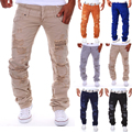 2017 Men's casual trousers tooling casual Double waist hole pants man