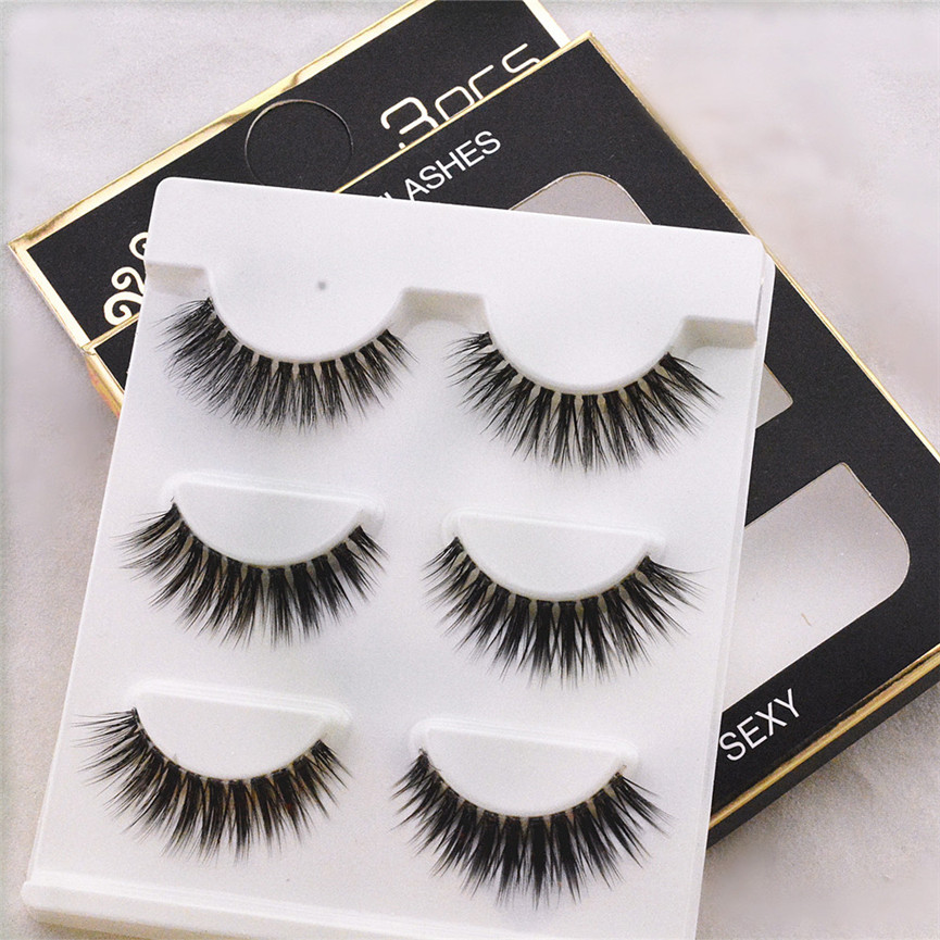 3 Pairs 3D False Eyelashes Dense Lashes Soft Stem With Pure Artificial Eyes Makeup Tools Drop Shipping 08m2