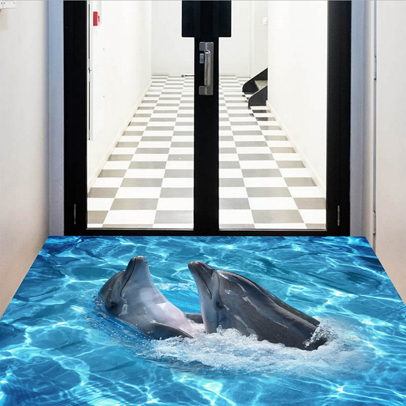3D Wall Sticker Dolphin Self-adhesive Removable  Waterproof DIY Decals Floor Stickers For Bedroom Living Room Bathroom