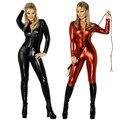 Hot Sexy Черный Красный Catwomen Комбинезон Латекс Комбинезон Фетиш ПВХ Боди Bodycon Ночь Culb Dance Wear