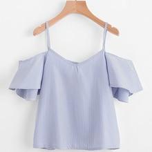 2017 Summer Casual Women Crop Tops Short Sleeve Blouses Stripe V Neck Spaghetti Straps Ladies Blouses For Female AQ823971