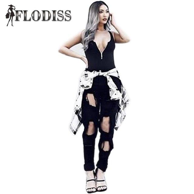 NEW Designer Holes Denims 2017 High Waist Ripped Jeans for Women Skinny Black White Pants Woman Elastic Slim Jean Female Femme