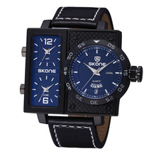 Сконе 3 часовой пояс дату наберите неделю уникальный роскошные часы мужчины кожаный ремешок бизнес квадрата кварца спортивные мужские часы Reloj хомбре