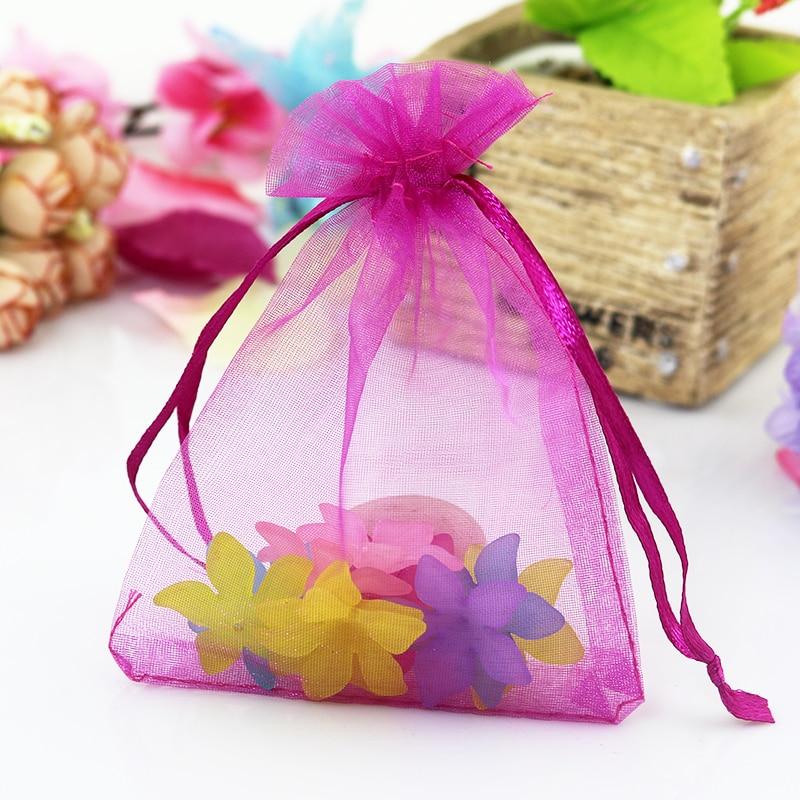 50 Hot Pink 5X7 Organza Bags Drawstring Jewelry Pouch Hot Pink Sheer Favor Bags Party Favor Bag Party Gift Bag Wedding Favor Bags