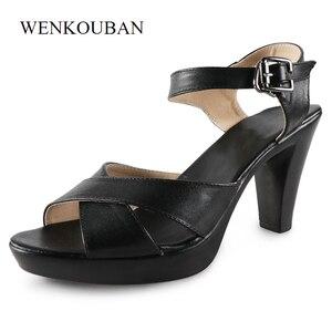Image 4 - 女性ハイヒール夏の女性の靴デザイナーグラディエーターサンダルハイヒールセクシーなピープトウクロスバンドブロックハイヒール黒 sandalias