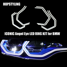 цена на Hopstyling Super Cool LED KIT for BMW HEADLIGHTS CONCEPT M4 STYLE DTM M3 M5 F30 SMD LED ANGEL EYES Halo Rings Auto Replacement