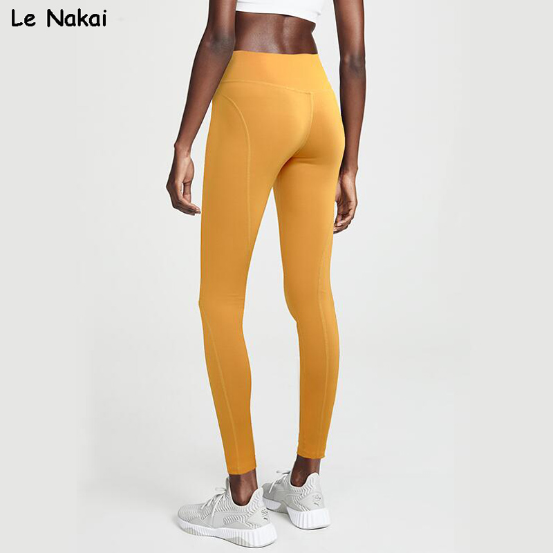 High Wasted Yellow Yoga Pants for Women Booty Scrunch Workout Gym Tights Energy Sports Fitness Power Flex legging Nylon Leggings