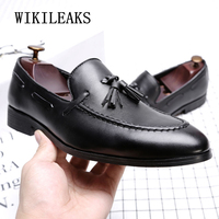 Brand Tassel Shoes Men Casual Leather Dress Shoes Slip On Loafers Oxford Shoes For Men Luxury Italian Formal Wedding Flat Shoes
