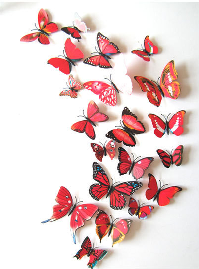 New Qualified Wall Stickers 12pcs Decal Wall Stickers Home Decorations 3D Butterfly Rainbow PVC Wallpaper for living room rysunek kolorowy motyle