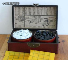 Elaborate Chinese Go Game Set Leather Box Goban Board and Stone Pieces