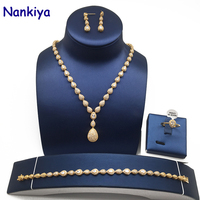 Nankiya High Quality Water Drop Pendant Wedding Jewelry Zirconia Sets Costume Dress Accessory Bridal 4pcs Set for Marry NC129