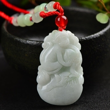 Natural jadeite Chinese zodiac pendant Zodiac monkey transshipment Jade necklace Send a certificate