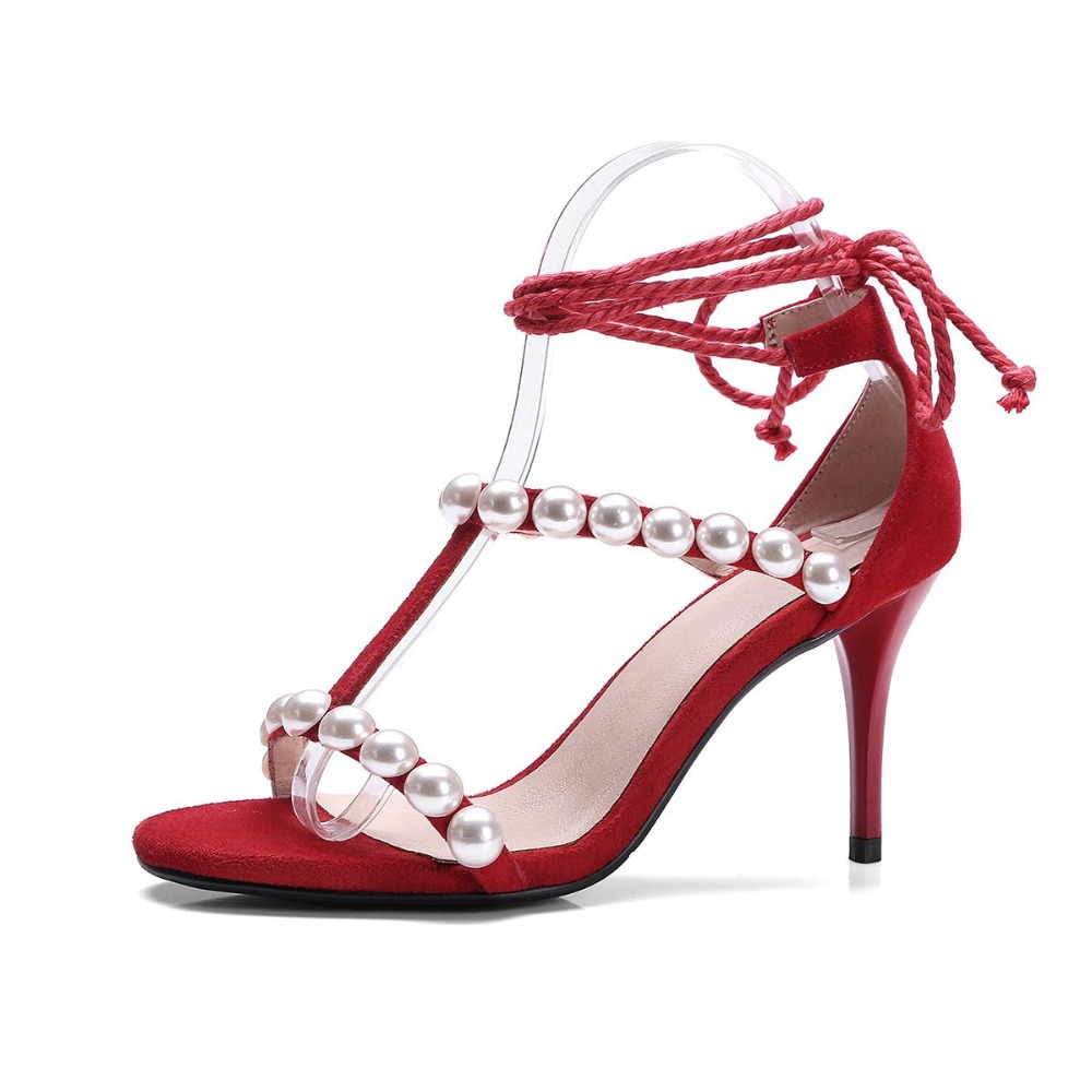 Womens sandals size 13 - Krazing Pot 2017 Shoes Women Peep Toe Sheep Suede Stiletto Pearl Thin High Heels Women Sandals Superstar Beading Summer Shoes 13