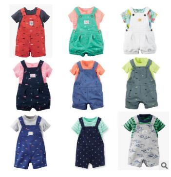 2016 bebes Original baby boys girls clothing set summer infant cotton t shirt Polka dots overalls