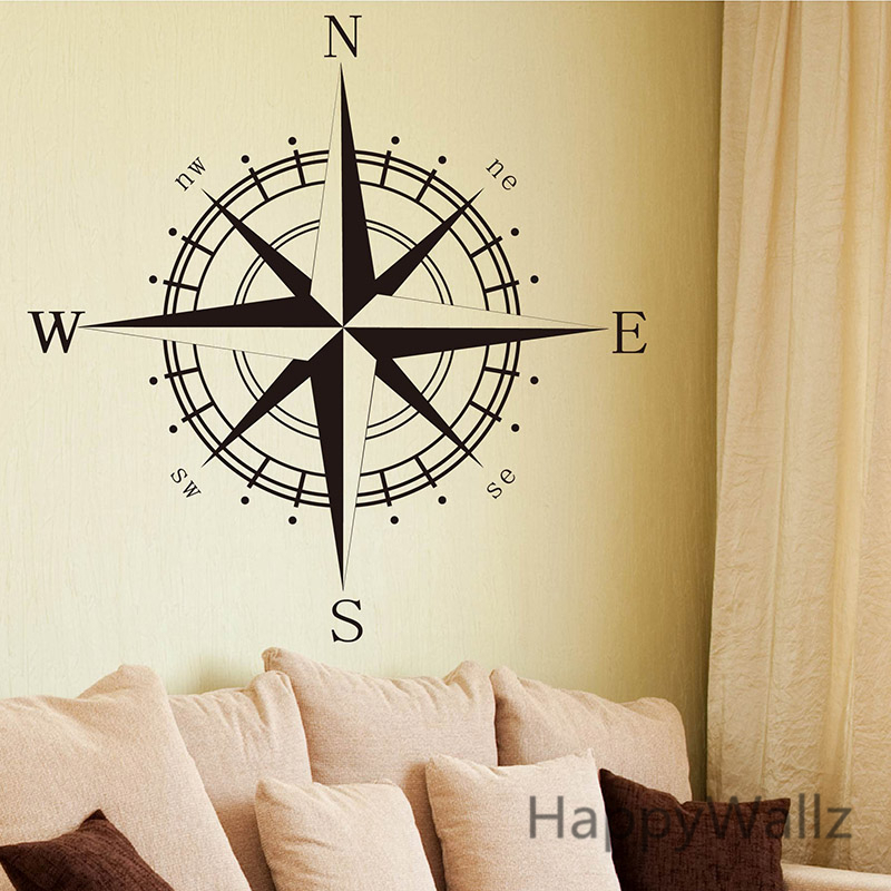 Compass Wall Sticker Modern Vinyl Wall Art Compass Wallpaper ...