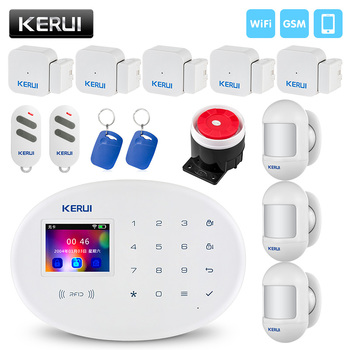 цена на New KERUI W20 Wireless WiFi GSM Home Security Burglar Alarm System Phone APP RFID Card Control 2.4 inch TFT Screen Touch Panel