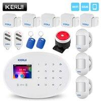 New KERUI W20 Wireless WiFi GSM Home Security Burglar Alarm System Phone APP RFID Card Control 2.4 inch TFT Screen Touch Panel