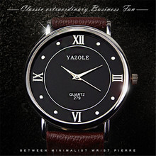 Yazole Quartz Watch Men Fashion Business Leather Strap Watches Classic Simple Mens Watches Relogio Musculino