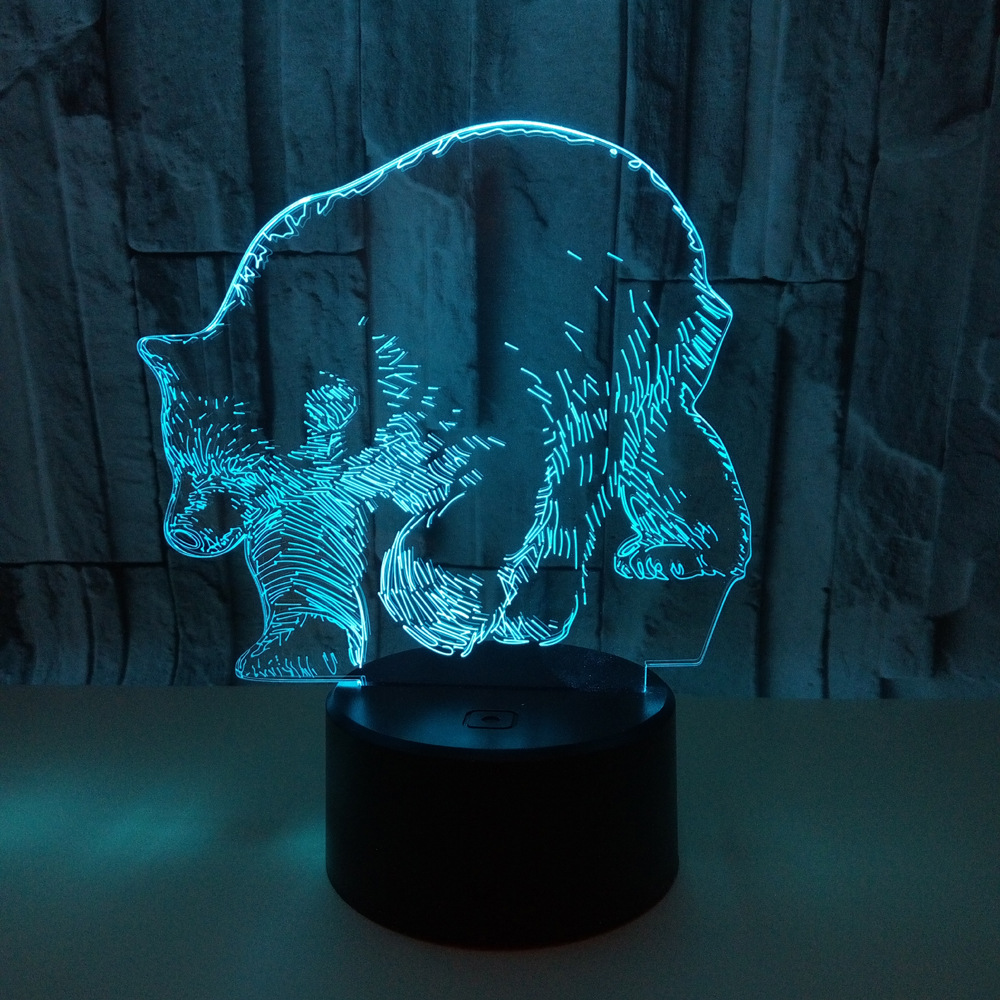 New Polar Bear 3d Lamp 7 Color Change  Table Lamps Baby Roomdeco Enfant Chambre Desk Lamp 3d Nightlight