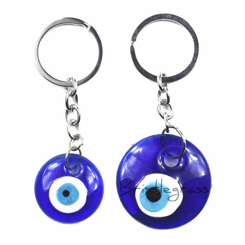 BRISTLEGRASS Thổ Nhĩ Kỳ Xanh Evil Eye Keychain Dây Đeo Chìa Khóa Xe Người Giữ Nhẫn Bùa Hộ Mệnh May Mắn Quyến Rũ Treo Mặt Dây Chuyền Phước Lành Bảo Vệ