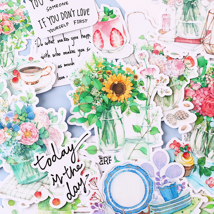 17pcs Creative Cute Kawaii Self-made Flower After Noon Hand Painted  Scrapbooking Stickers/decorative  /DIY Craft Photo Albums