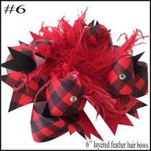 24 шт. Buffalo Плед Луки рождественские банты для волос с зажимы плед дети обувь для девочек принцессы ручной работы бутик луки