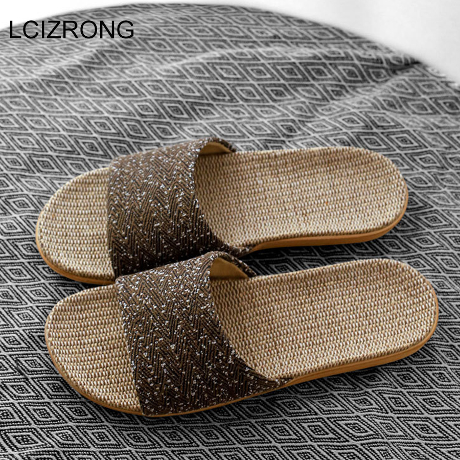 LCIZRONG New Linen Slippers For Men Outside Beach Walking Slippers Male Home Non-slip Slides 5 Colors Lovers Unisex Flat Shoes