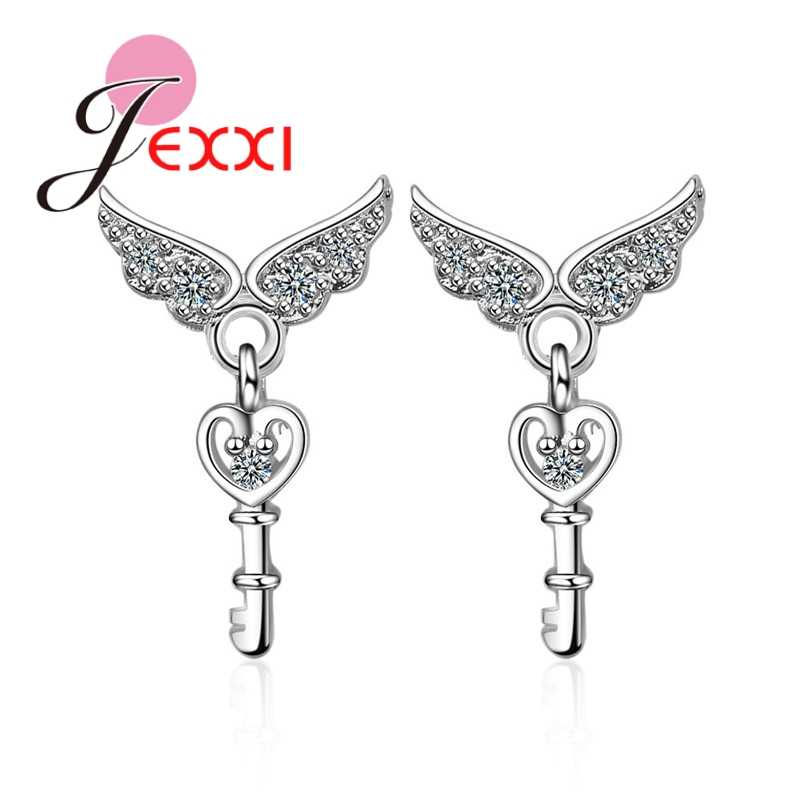 Magical Angel Wings Earrings For Women 925 Sterling Silver Sterling Silver Jewelry Key Shape Pendant Pave Crystal Sweet Gifts
