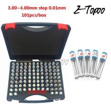 3,00~ 4,00 мм Шаг 0,01 мм стальной штифтовый Калибр контактный измерительный прибор для измерения отверстий, 101 шт./кор