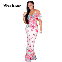 Yizekoar Floral Print Maxi Dresses Strap Slash Neck Bodycon Beach Summer Sundress Sexy Backless Women Dress Long Vestidos